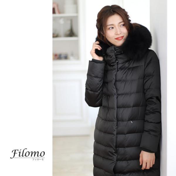 Filomo ダウンコート レディース ファー トリミング ダウン 90% 大きいサイズ フード付き フォックス (No.08000141)|j-white|15