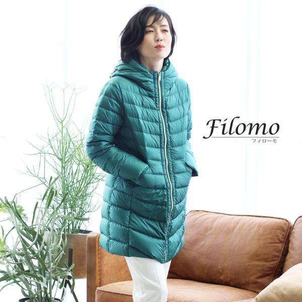 Filomo ダウンコート レディース ライトダウン フード 収納 付き ミドル丈(No.08000172)|j-white