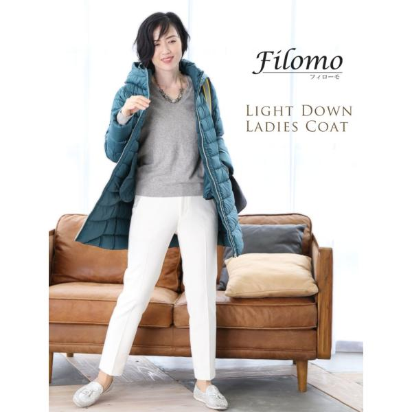 Filomo ダウンコート レディース ライトダウン フード 収納 付き ミドル丈(No.08000172)|j-white|02