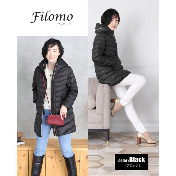 Filomo ダウンコート レディース ライトダウン フード 収納 付き ミドル丈(No.08000172)|j-white|08