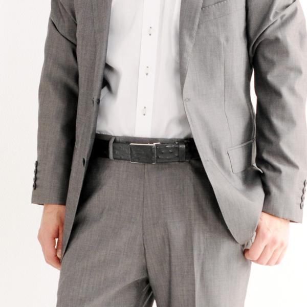 日本製 本革 オーストリッチ ベルト メンズ 張り無双 バックル 35mm ビジネス 本革 レザーベルト 誕生日 ギフト 父 プレゼント(No.9106-1)|j-white