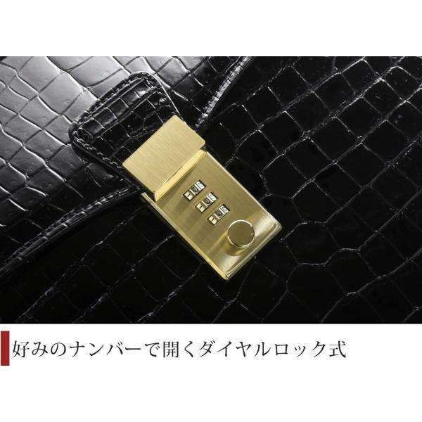 クロコダイルバッグ  (通勤 ビジネス)(レザー 革)(レザーバッグ) クロコダイル メンズバッグ シャイニング加工 センター取り ブラック|j-white|04