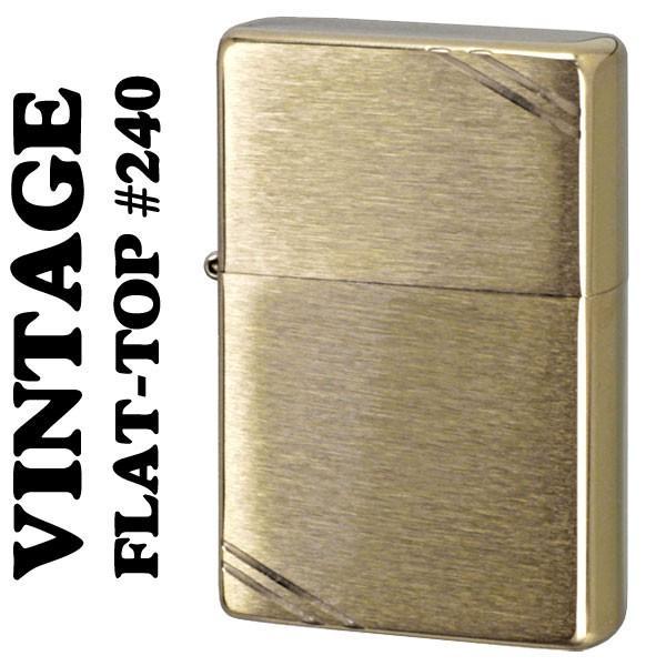 ZIPPOライター 1937 フラットトップビンテージ・ブラッシュブラス(ラインあり) #240ジッポ ライター SOLID BRASS(ネコポス対応)