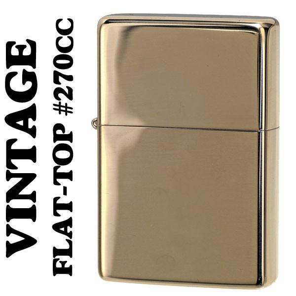 (ネコポス対応可)zippo (ジッポー) フラットトップビンテージ ・ハイポリッシュブラス(ライン無し) 1937 #270CC