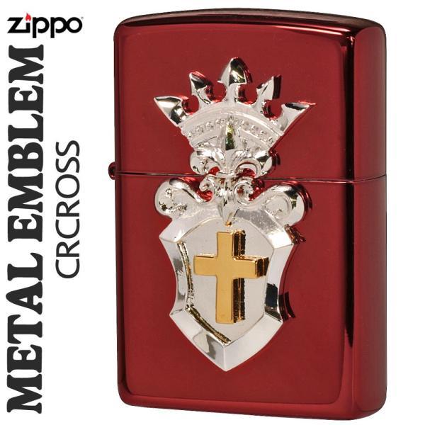 zippo(ジッポーライター)メタルエンブレム レッドイオンコーティング2REDM-CRCROSS送料無料