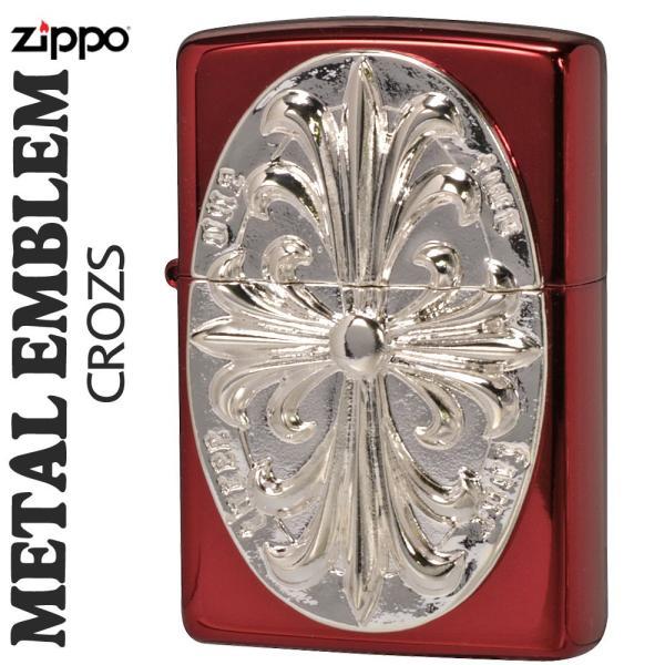 zippo(ジッポーライター)メタルエンブレム レッドイオンコーティング2REDM-CROZS送料無料
