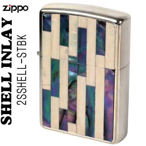 zippo(ジッポーライター)Shell InIay  銀メッキ エッチング 貝貼り ナチュラル/パール 2SSHELL-STBK 送料無料(ネコポス対応)