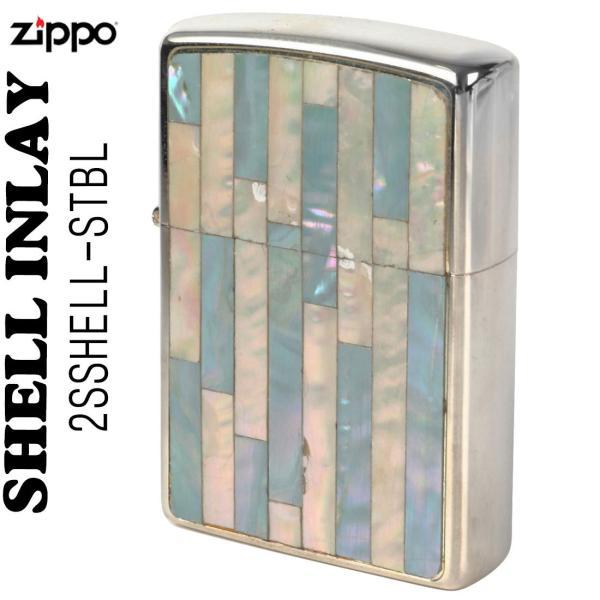 zippo(ジッポーライター)Shell InIay  銀メッキ エッチング 貝貼り ブルー/パール 2SSHELL-STBL 送料無料(ネコポス対応)