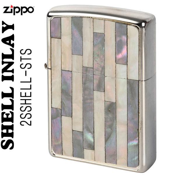 zippo(ジッポーライター)Shell InIay  銀メッキ エッチング 貝貼り シルバー/パール  2SSHELL-STS 送料無料(ネコポス対応)