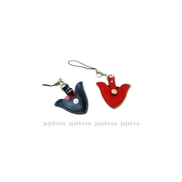 ピックケース携帯ストラップ黒・赤(ギターピック付)本革(レザー)製JAJABOONジャジャブーン(メール便OK)