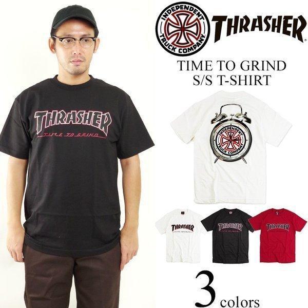 インディペンデント X スラッシャー コラボレート 半袖 Tシャツ タイムトゥグラインド (INDEPENDENT THRASHER Wネーム インディ)|jalana