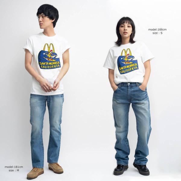 Tシャツ メンズ 半袖 マクドナルド 別注 チャンピオンボディ サンタモニカ店限定 波乗りドナルド ホワイト 大きいサイズ (McDonald's 海外買い付け商品) jalana 02