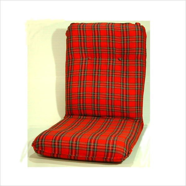 座椅子 リクライニング座椅子 タータンチェック柄