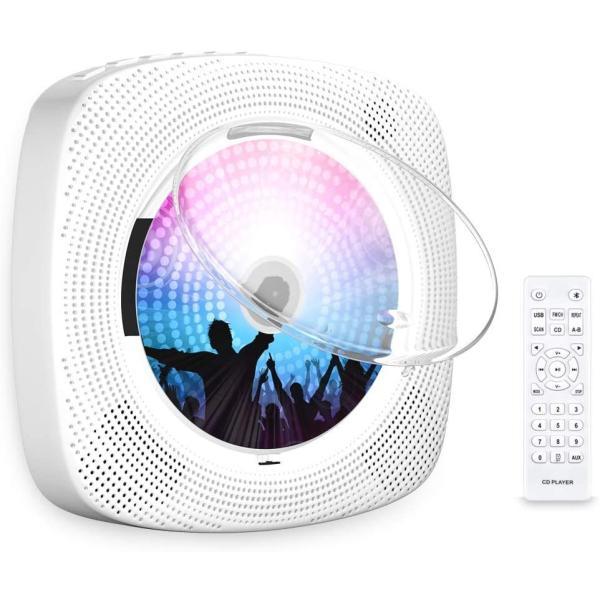CDプレーヤー置き&壁掛け式ポータブルCDプレーヤー1台多役2020年最新版CDラジオ防塵透明カバー付き日本語説明書付き
