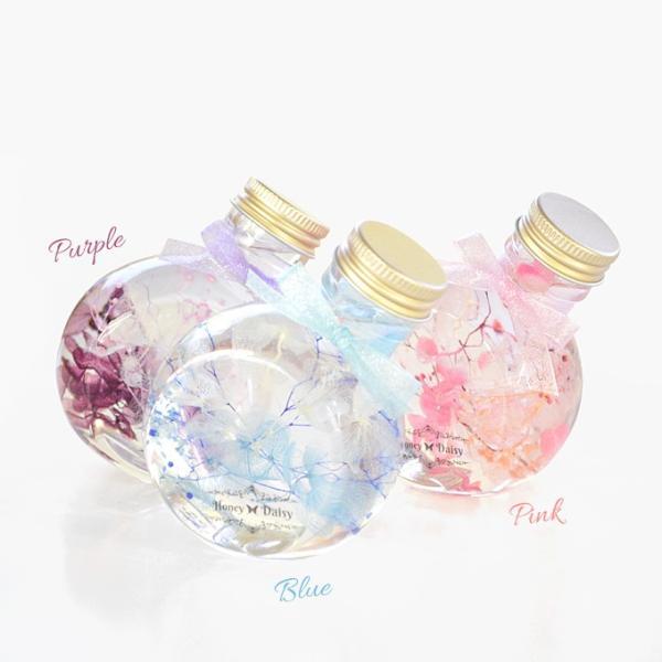 Honey Daisy ハーバリウム サークル・ネコ瓶 100ml 6色から選べる2本セット ミニボトル 観葉植物 インテリア 雑貨 プリザーブドフラワー 花 ドライフラワー