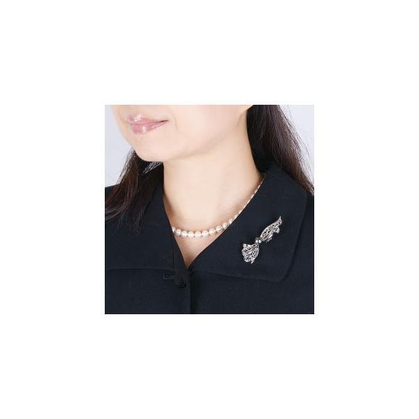ドレスアップの必須アイテム「真珠ブローチ」シルバー南洋黒蝶真珠デザインブローチ(IYB-229T)