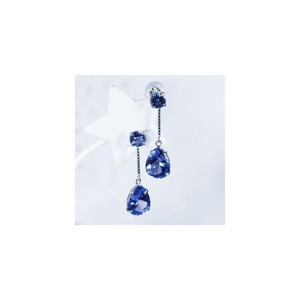 タンザナイト ピアス ラウンドカット ペアシェイプカット スイング 計2.2カラット 18金ホワイトゴールド 12月誕生石 希少宝石