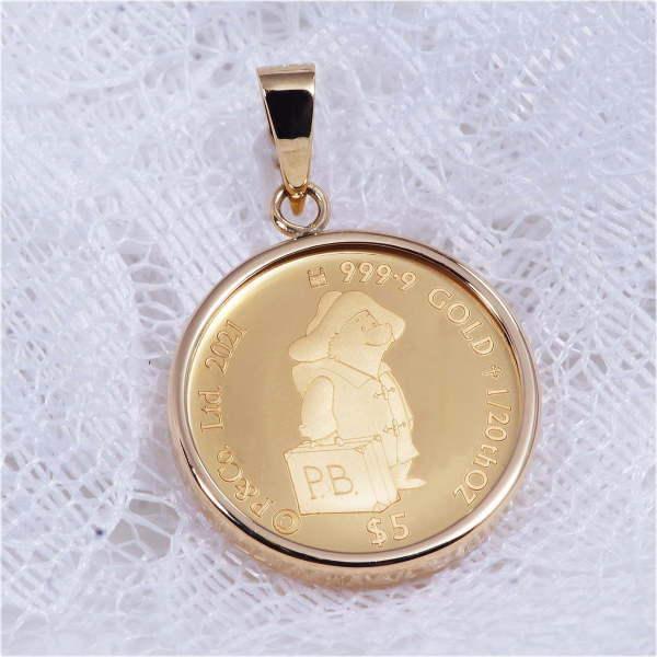 18金枠 純金金貨ペンダントトップ パディントン べア  Paddington Bear K24コイン 1/20オンス 2021年度版 クリスタル保護ガラス