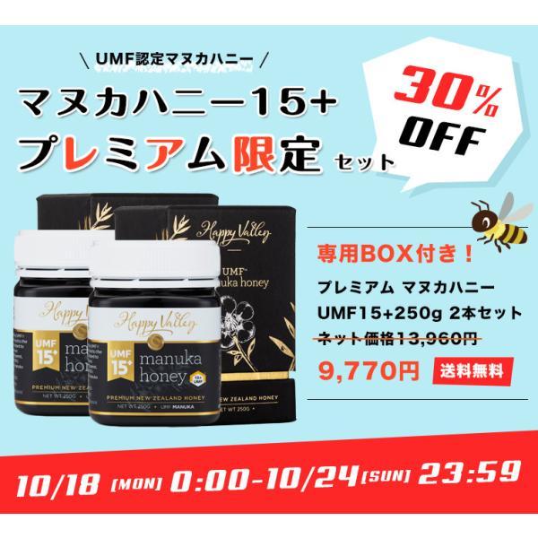 限定セット販売 30%OFF プレミアム マヌカハニー UMF15+ 250g×2本セット 専用BOX付 ニュージーランド産 はちみつ 蜂蜜 honey 送料無料|jarrah|07