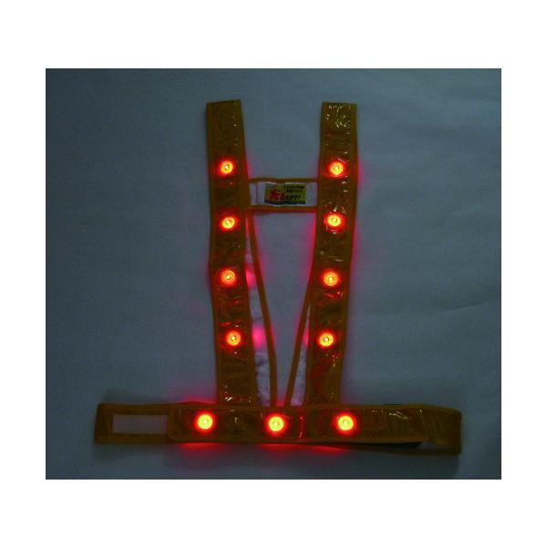 ミズケイ LEDタスキ型安全ベスト「光るんです」<ゴールド/赤LED> 3020001