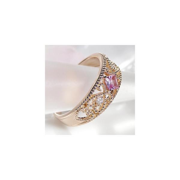 K18 PG ゴールド 指輪 リング ミル打ち ダイヤモンド ダイヤ カラーストーン ピンクサファイア サファイア 9月 誕生石 CAR-0124KP