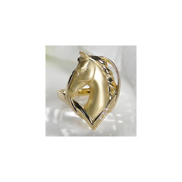 K18YG ゴールド ダイヤモンド ダイヤ 指輪 リング ホース 馬 動物 アニマル 18k CAR-0208