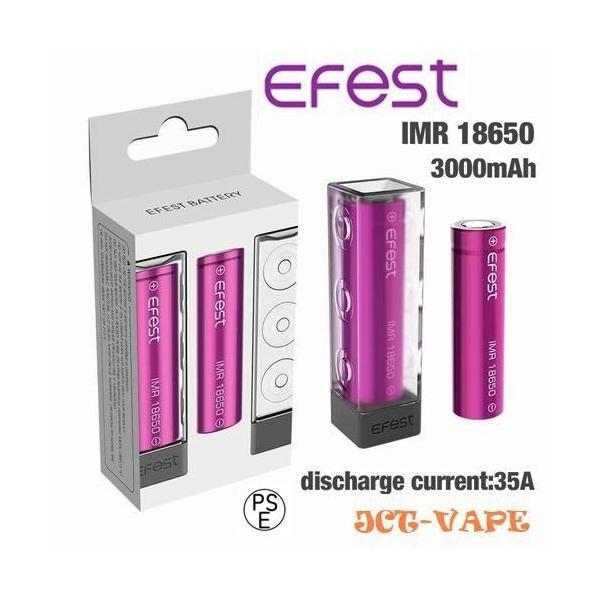 18650 3000mah 35A  2本セット リチウムマンガンバッテリー フラットトップ Efest 電子タバコ PSE認証|jct-vape