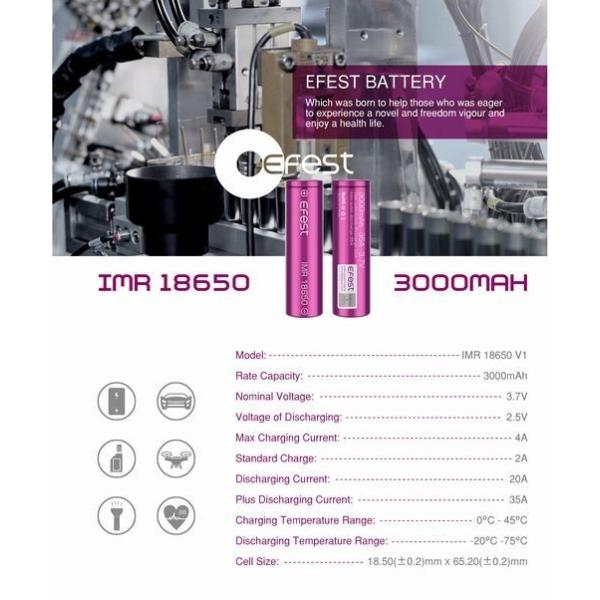 18650 3000mah 35A  2本セット リチウムマンガンバッテリー フラットトップ Efest 電子タバコ PSE認証|jct-vape|09