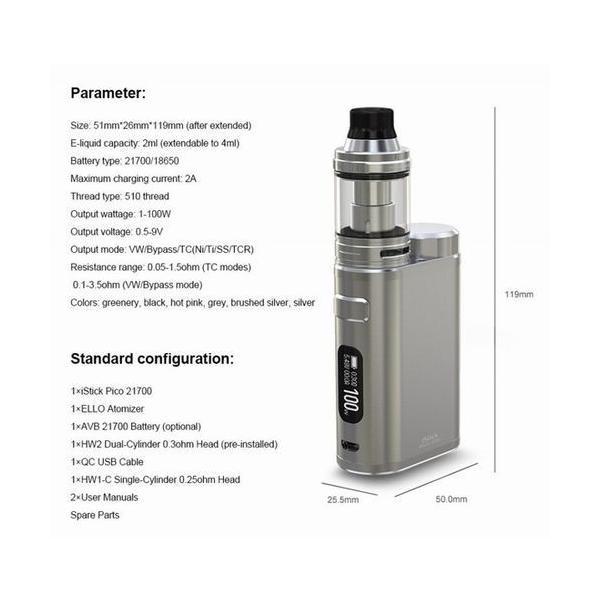 Eleaf iStick Pico 21700 100W with Ello TC Kit スターターキット バッテリー付 送料無料 電子タバコ|jct-vape|02