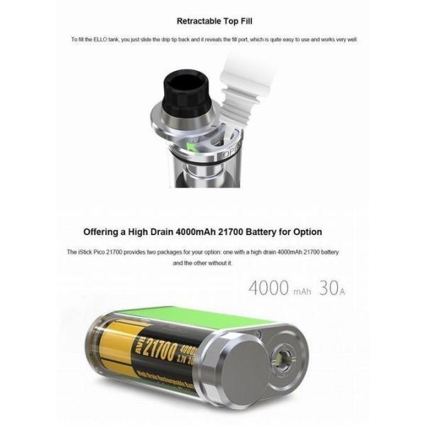 Eleaf iStick Pico 21700 100W with Ello TC Kit スターターキット バッテリー付 送料無料 電子タバコ|jct-vape|11