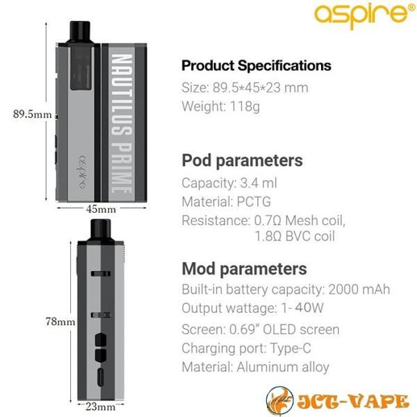 Aspire Nautilus PRIME Starter kit アスパイア ノーチラス プライム スターターキット 2000mAh バッテリー内蔵 電子タバコ VAPE jct-vape 12
