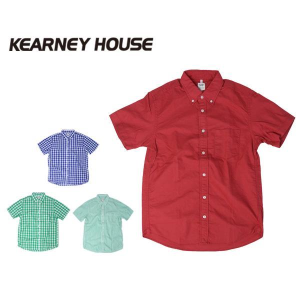 チェックシャツ メンズ チェックシャツ 半袖 KEARNEY HOUSE カーニーハウス メンズ ギンガム チェック ストライプ 無地 ワークシャツ G5501|jeans-yamato