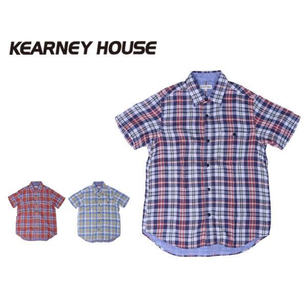 チェックシャツ メンズ チェックシャツ 半袖 KEARNEY HOUSE メンズ チェック ワークシャツ 半袖 シャツ レギュラー H5501-63109|jeans-yamato