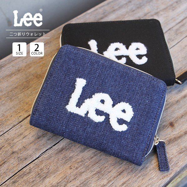 Lee 財布 二つ折り レディース メンズ デニム ジップウォレット サガラ刺繍 0520452|jeans-yamato