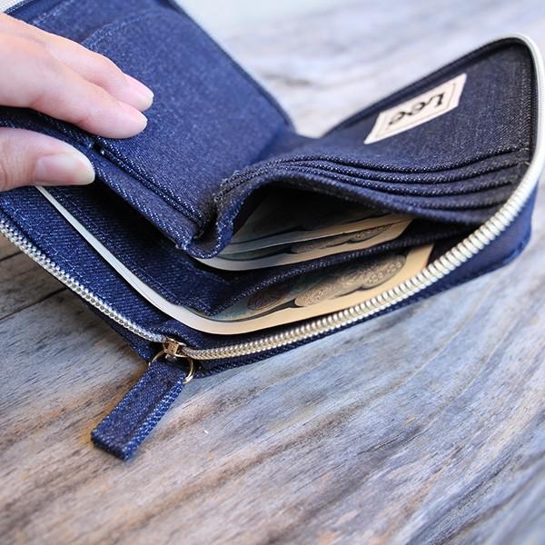 Lee 財布 二つ折り レディース メンズ デニム ジップウォレット サガラ刺繍 0520452|jeans-yamato|04