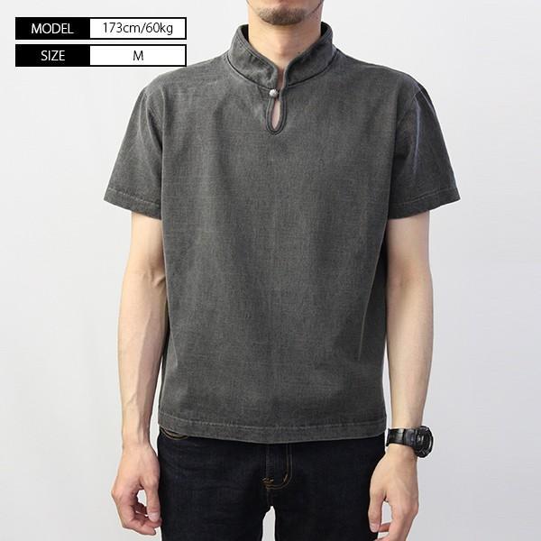 バーンズ Tシャツ 半袖 バーンズアウトフィッターズ ハイネック コンチョ付き BARNS Tシャツ 半袖 無地 小寸編み BR-7901|jeans-yamato|03