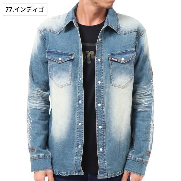 NORTON ノートン デニムシャツ 長袖 裏起毛 シャツジャケット メンズ ストレッチ素材 バイカー バイク乗り 刺繍 193N1503 jeans-yamato 02