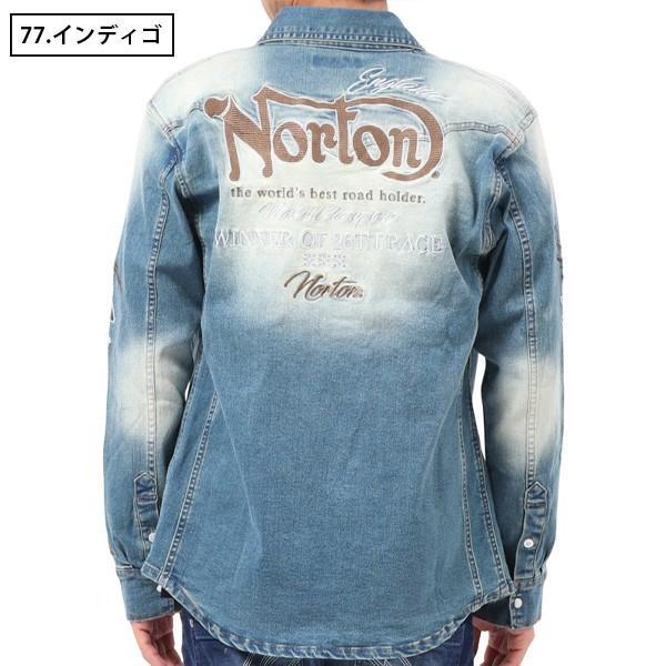 NORTON ノートン デニムシャツ 長袖 裏起毛 シャツジャケット メンズ ストレッチ素材 バイカー バイク乗り 刺繍 193N1503 jeans-yamato 03