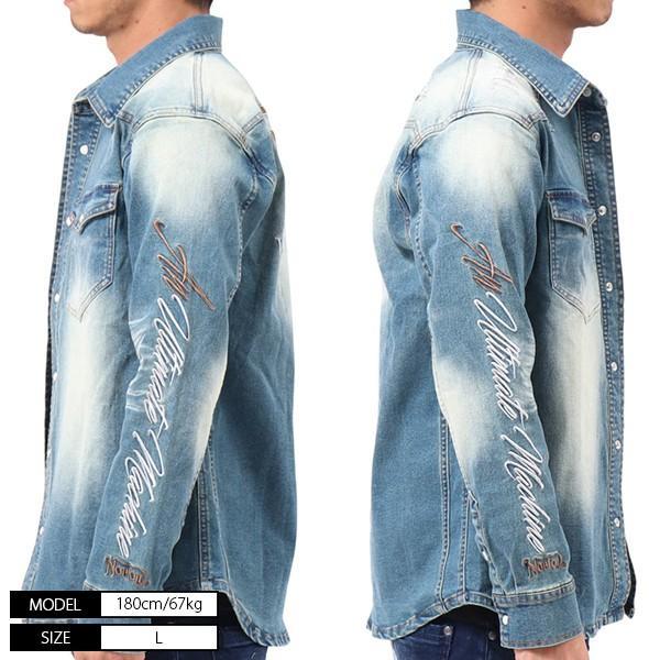 NORTON ノートン デニムシャツ 長袖 裏起毛 シャツジャケット メンズ ストレッチ素材 バイカー バイク乗り 刺繍 193N1503 jeans-yamato 04
