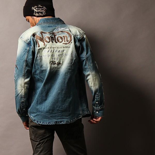 NORTON ノートン デニムシャツ 長袖 裏起毛 シャツジャケット メンズ ストレッチ素材 バイカー バイク乗り 刺繍 193N1503 jeans-yamato 05