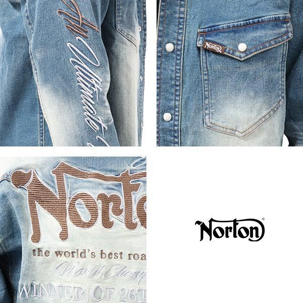 NORTON ノートン デニムシャツ 長袖 裏起毛 シャツジャケット メンズ ストレッチ素材 バイカー バイク乗り 刺繍 193N1503 jeans-yamato 06