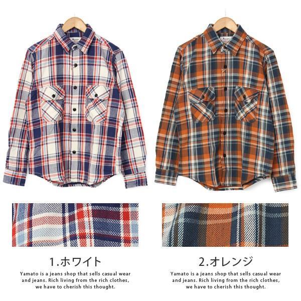 ネルシャツ メンズ 長袖 チェックシャツ メンズ 長袖 HEAVY FLANNNEL CHECK SHIRT 8色展開 ALCARZA 69-900|jeans-yamato|06
