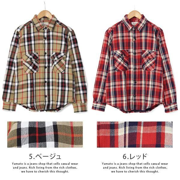 ネルシャツ メンズ 長袖 チェックシャツ メンズ 長袖 HEAVY FLANNNEL CHECK SHIRT 8色展開 ALCARZA 69-900|jeans-yamato|07