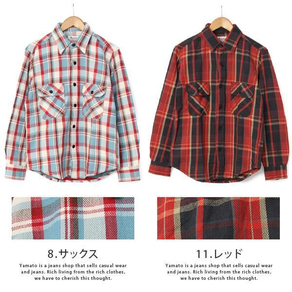 ネルシャツ メンズ 長袖 チェックシャツ メンズ 長袖 HEAVY FLANNNEL CHECK SHIRT 8色展開 ALCARZA 69-900|jeans-yamato|08
