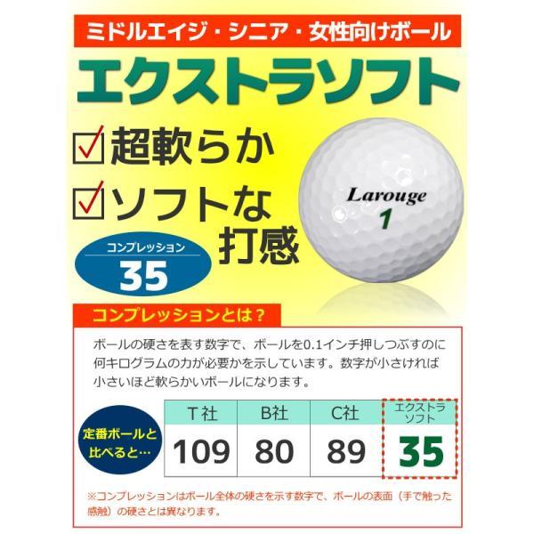 ゴルフボール 高反発ドライバーにピッタリ Larougeエクストラソフト35ボール 1ダース 12個セット※|jenet|03