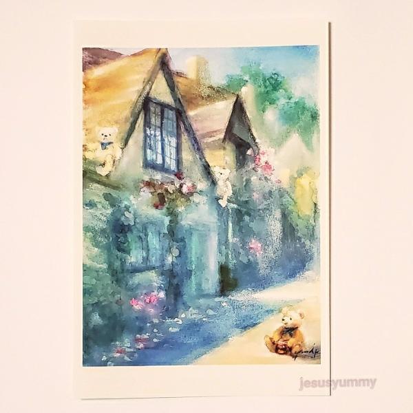 「クマ達の日向ぼっこ」 Yumi Kohnoura作 オリジナル・ポストカード 絵はがき 葉書 絵画 クマ テディベア コッツウォルズ イングランド イギリス ヨ