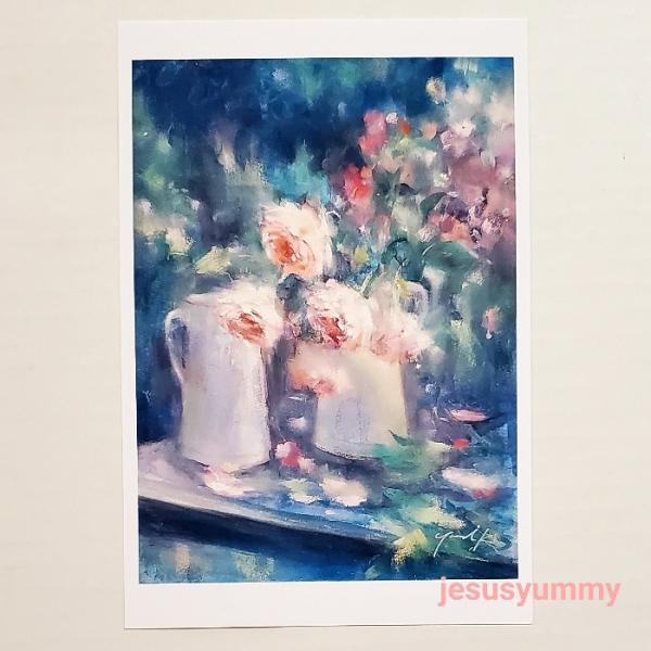 「Night dew 〜 夜露」 Yumi Kohnoura作 オリジナル・ポストカード 絵はがき 葉書 絵画 バラ 薔薇 静物画 花