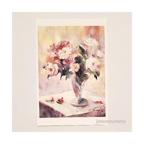 「ミスティパープルのベール」 Yumi Kohnoura作 オリジナル・ポストカード 絵はがき 葉書 絵画 バラ 薔薇 静物画 花