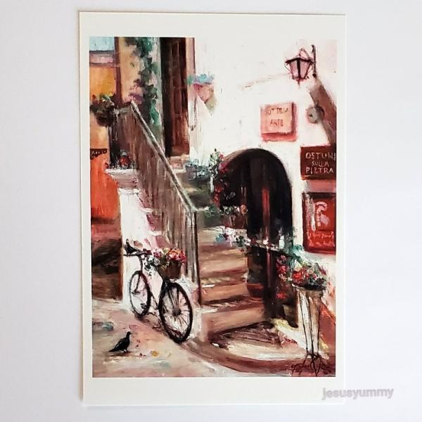 「Go Your Own Way」 Yumi Kohnoura作 オリジナル・ポストカード 絵はがき 葉書 絵画 イタリア オストゥーニ 風景 風景画 南イタリア