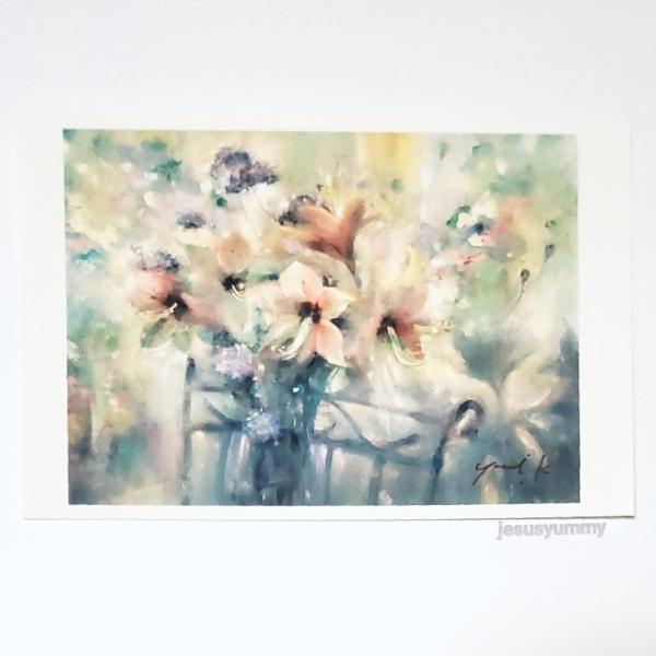 「Inner Voice」 Yumi Kohnoura作 オリジナル・ポストカード 絵はがき 葉書 絵画 花 アマリリス レースフラワー 静物画